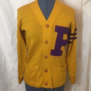 Vintage gold ladies letter p sweater cardigan